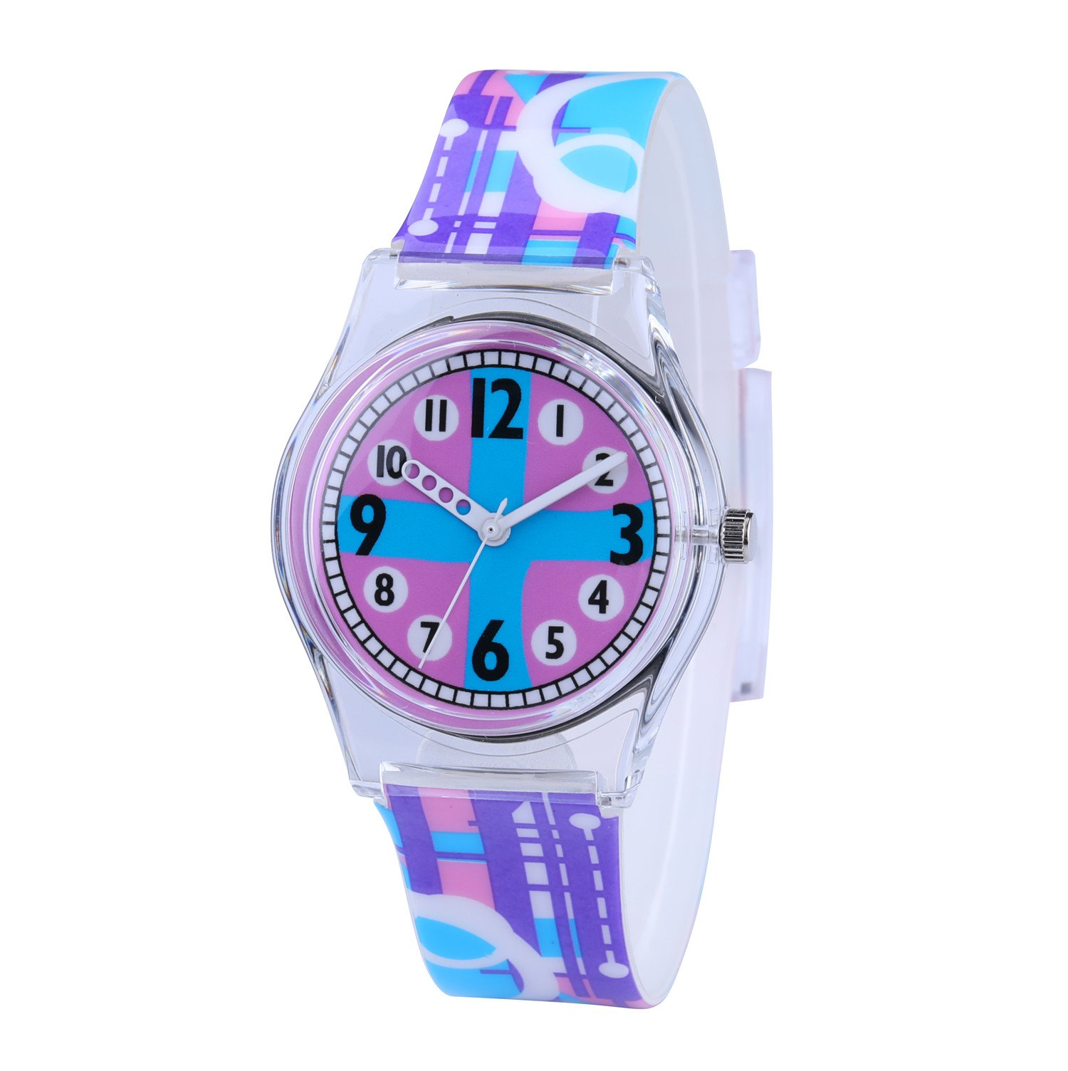 Jewtme Cute Analog Quartz watch Stylish Style With Colorful Band for Teenagers Young Girls Students Watches Gifts -Cross