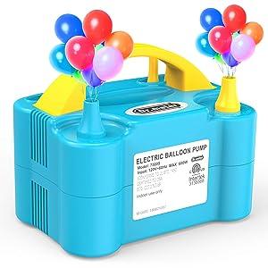 Dr.meter Inflador de Globos, Bomba Eléctrica Inflar Globos, Bomba portátil de Doble Boquilla Ideal para Fiestas, Bodas, cumpleaños, Actividades promocionales y decoración de Fiestas
