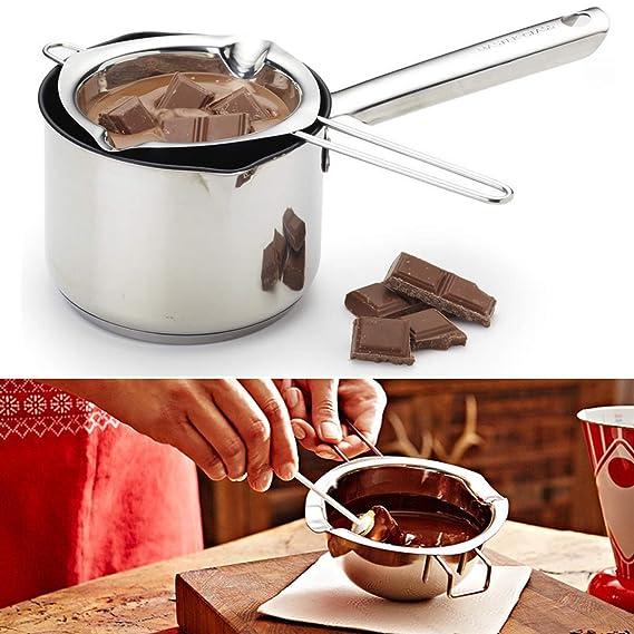 Janolia Caldera Chocolate, Caldera Mantequilla, Acero Inoxidable, Herramientas para Derretir Mantequilla, Queso, Caramelo, Chocolate en la Fiestas: ...