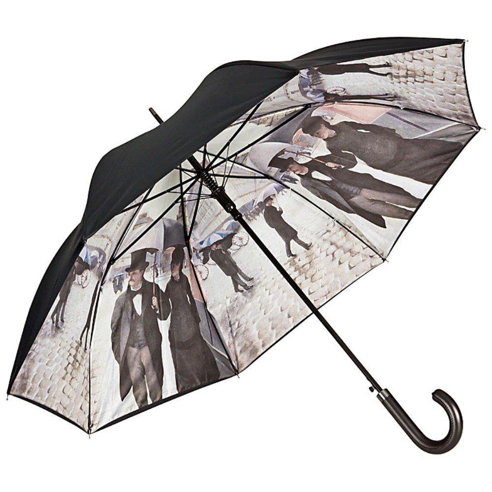 VON LILIENFELD Ombrello a tema automatico uomo donna classico lungo arte Gustave Caillebotte: Parigi sotto la pioggia doppio rivestimento