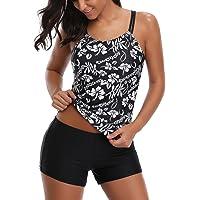 8718219d9f14b AYEEBOOY Women's Plus Size Floral Halter Tankini Set with Boyshort High  Waist Swimsuit Bikini