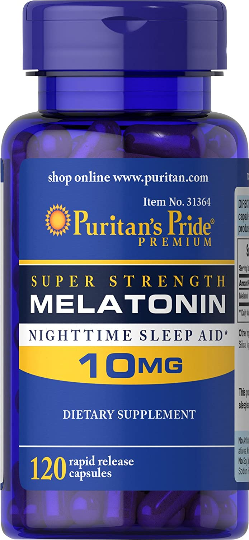 Puritans Pride Super Strength Rapid Release Capsules Melatonin 10 mg, 120 Count
