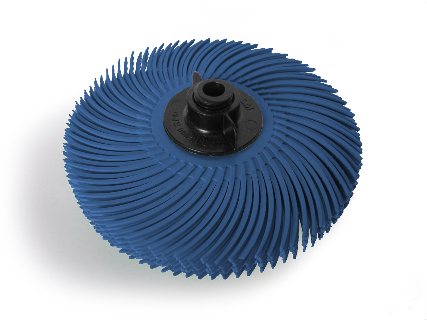 JoolTool 3M Scotch-Brite Blue Radial Bristle Brush Assembled with Plastic Tapered Mandrel Hub, 6 Ply, 3'' Diameter, Grit 400