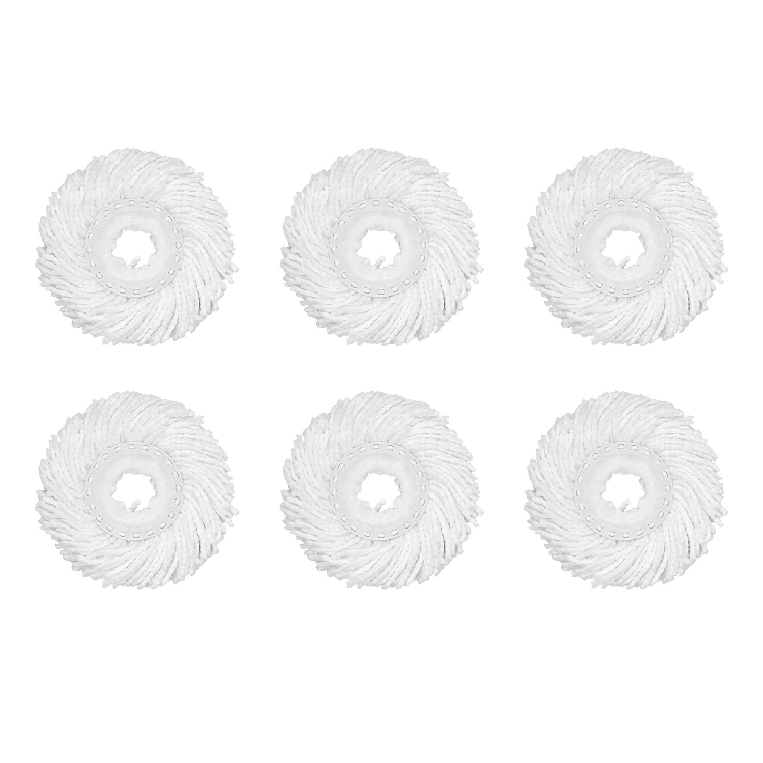 HAPINNEX Microfiber Floor Mop Heads - 6 Pack Refills - Compatible With 360° Spin Cleaning Mops (with diameter between 6.1'' to 6.5'')