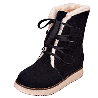 0101558a0fc8 Gaorui women ladies winter lace up boots mid calf snow boots fur lined boots  warm ankle boots martin boots flat heel  Amazon.co.uk  Shoes   Bags