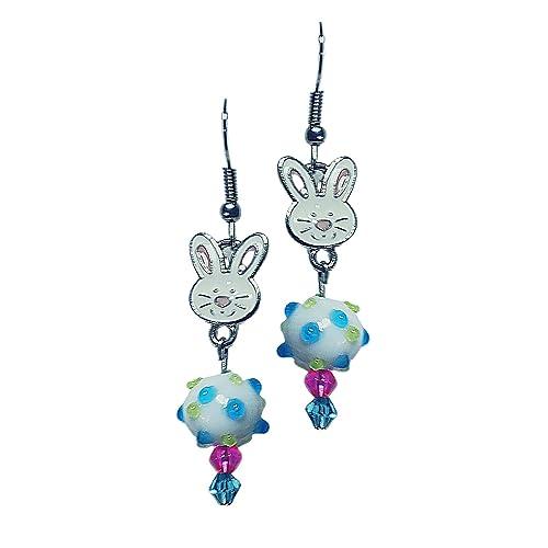Easter Earrings Pearl Earrings Holiday Earrings Bunny Jewelry Dangle Sterling Bunny Earrings Easter Bunny Earrings Bunny Earrings
