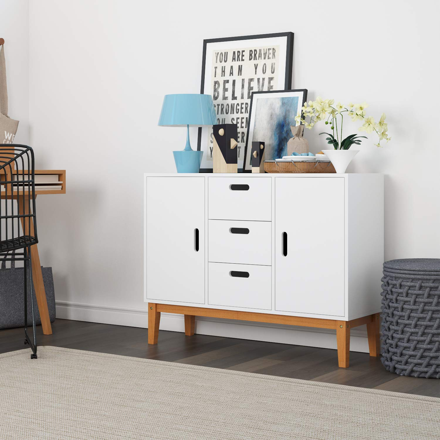 HOMECHO Floor Buffet Sideboard Storage Cabinet Freestanding Console Table Cupboard Chest 2 Door, 3 Drawers and 2 Inside Adjustment Shelf for Hallway, Living Room and Kitchen White Color HMC-MD-004 by HOMECHO (Image #7)