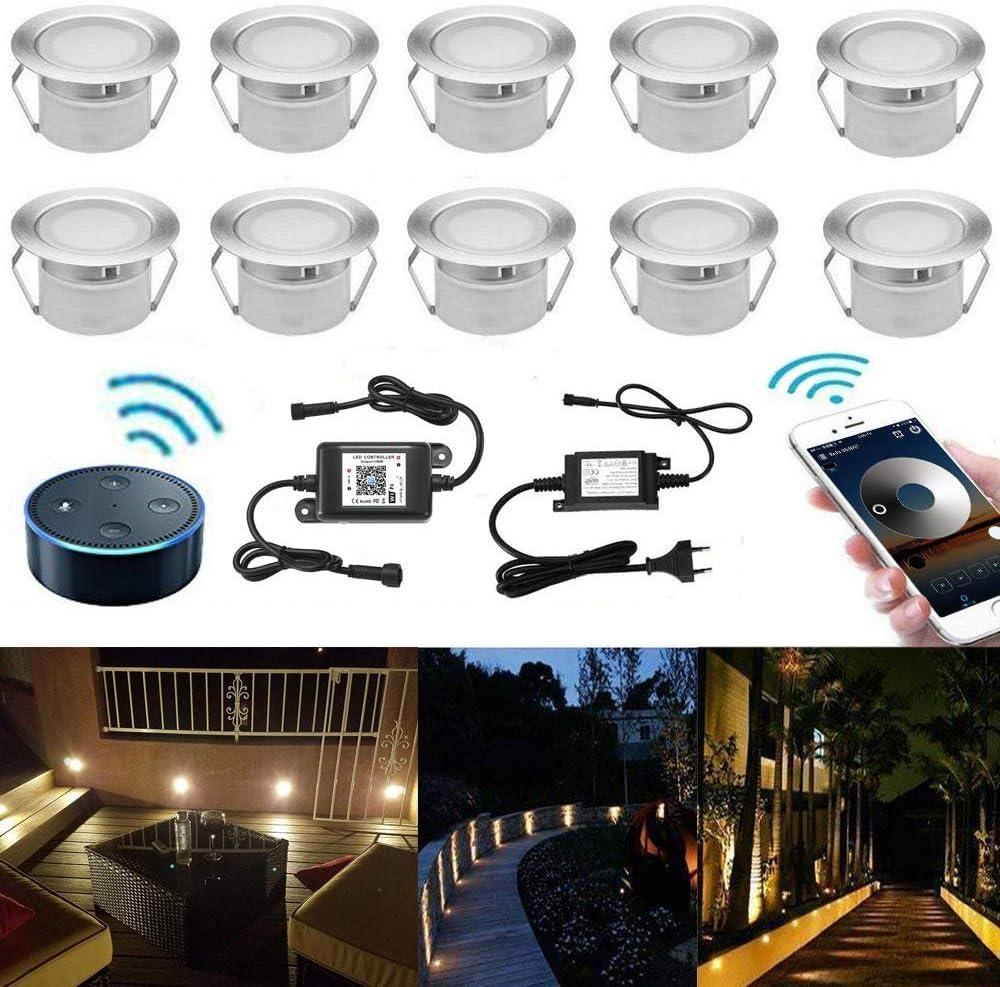 INDARUN Foco empotrable LED, lámpara de pie Foco empotrable acero inoxidable Impermeable IP67 1W Ø45mm Iluminación para patio, camino, pared, jardín, decoración, interior y exterior