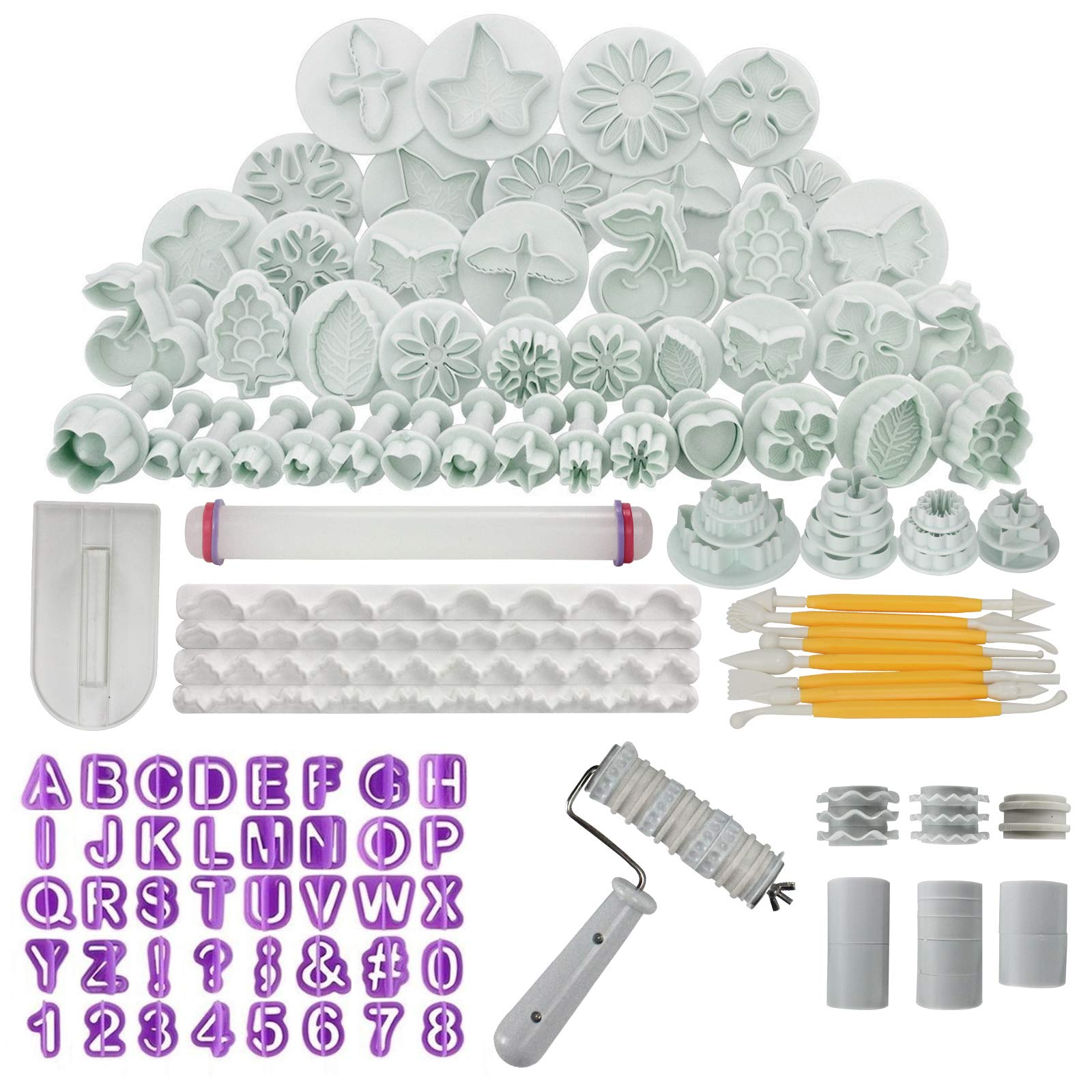 Funshowcase Fondant Cake Sugarcraft Decorating Kit Cookie Mould Icing Plunger Cutter Tool 102-piece Set