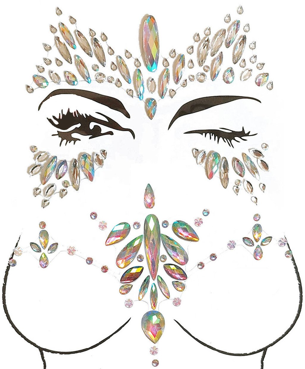 MineSign 8 Pack Face Jewels Festival Tattoo Set Face Gems Glitter Bindi Costume Makeup Rhinestone Eyes Body Rave Pasties for Party Roller (Mermaid Face Chest Kit) by MineSign (Image #3)