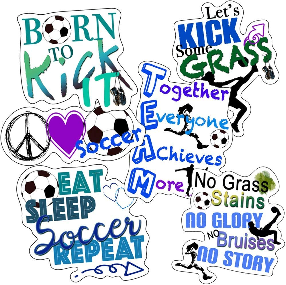 Soccer Stickers - Perfect Soccer Team Stickers - Waterproof, Durable 100% Vinyl - Anywhere You Need Soccer Stickers for Water Bottles, Laptop, Car Decal, Party Giveaways