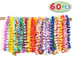 Joyin Toy 60 Counts Tropical Hawaiian Luau Flower Lei Party Favors (5 Dozen)