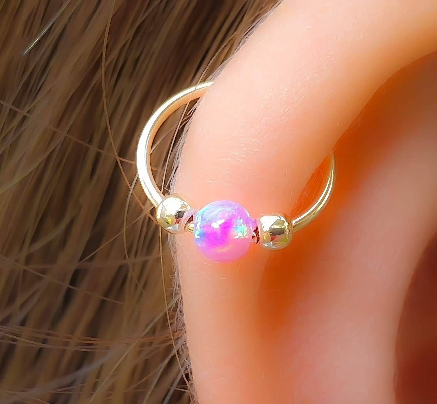 14k Gold Filled Green Opal Cartilage Earrings Ring Opal Helix