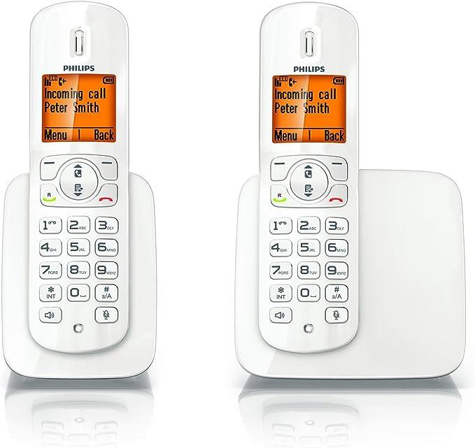 Philips CD2802W/ES Teléfono inalámbrico BeNear Duo(blanco brillo): Amazon.es: Electrónica