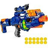 Toyshine Blaze Storm Motorized Customizable Soft Foam Ball Long-Distance Blaster Toy w/ Barrel Extension, 12 Foam Balls, Foldable Bipod