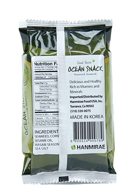 Amazon Ocean Snack Korean Wasabi Roasted Seaweed Snack 24