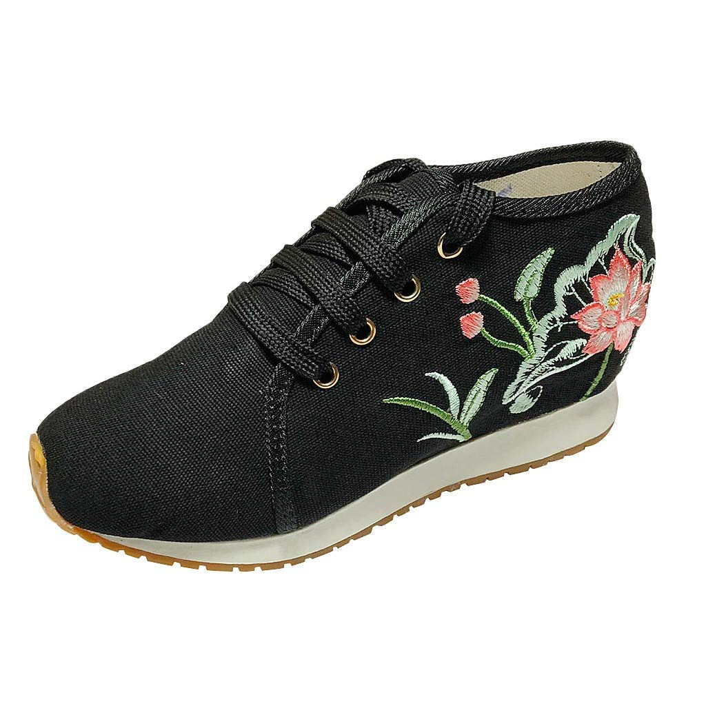 Women Ladies Retro Embroider Lace Up Wedge Heightening Round Toe Cross Tied Lightweight Casual Canvas Shoes Black by Rmeioel