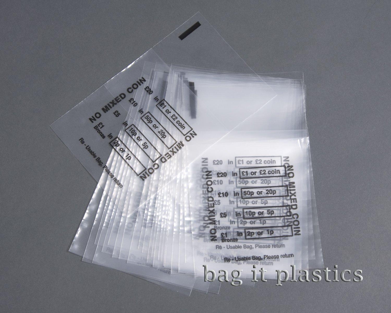 Bag It Plastics - Set da 150 bustine portamonete in plastica NOMIXED150