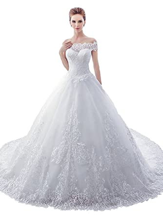 Sisjuly Womens Sweetheart Lace Off The Shoulder Ball Gown Wedding Dress 2 Ivory