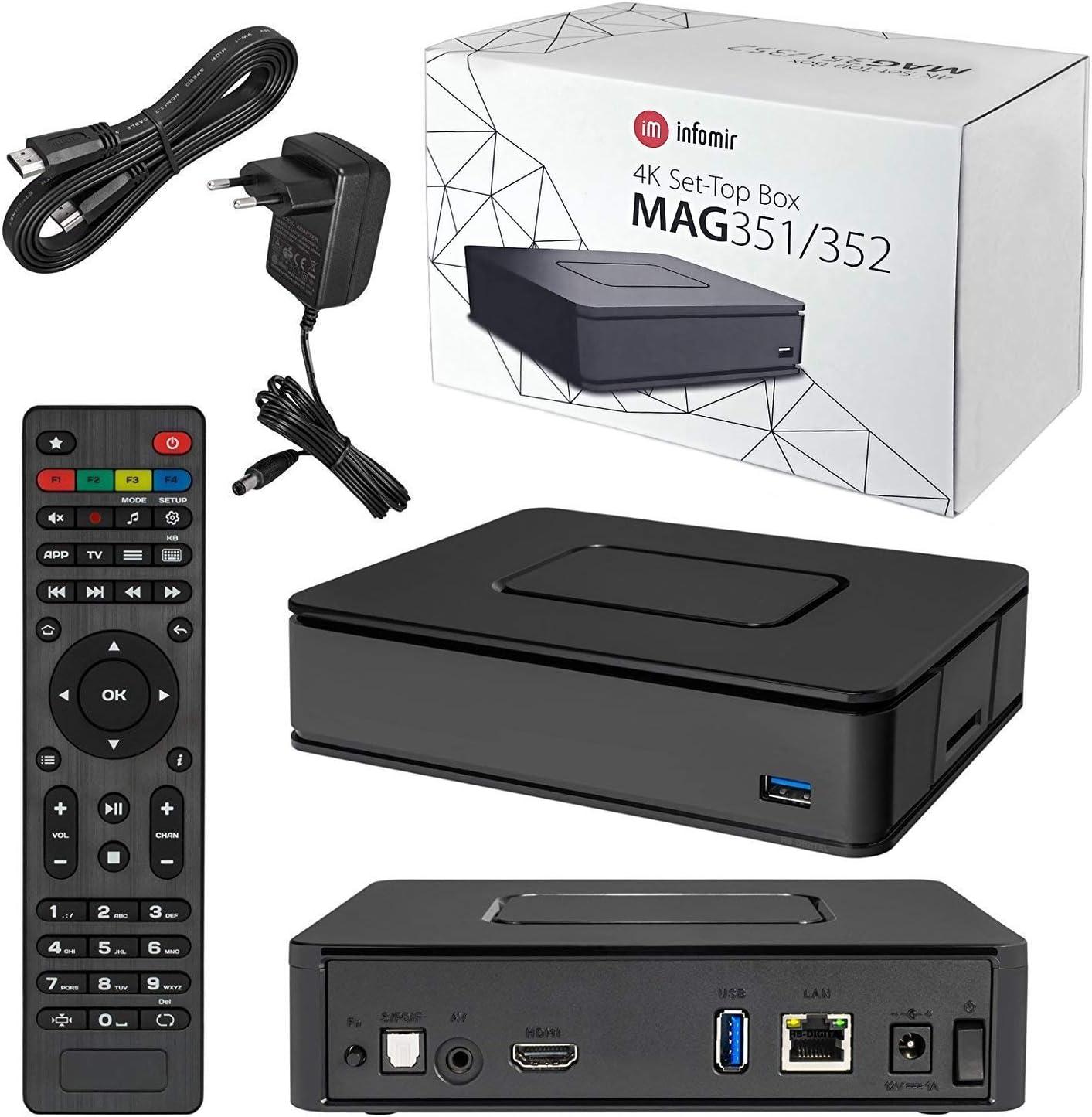 infomir Mag 352 Premium IPTV/OTT Set-Top Box, bcm75839, Linux 3.3, OpenGL es 2.0, hevc, 512 MB flash/1 GB de RAM: Amazon.es: Electrónica