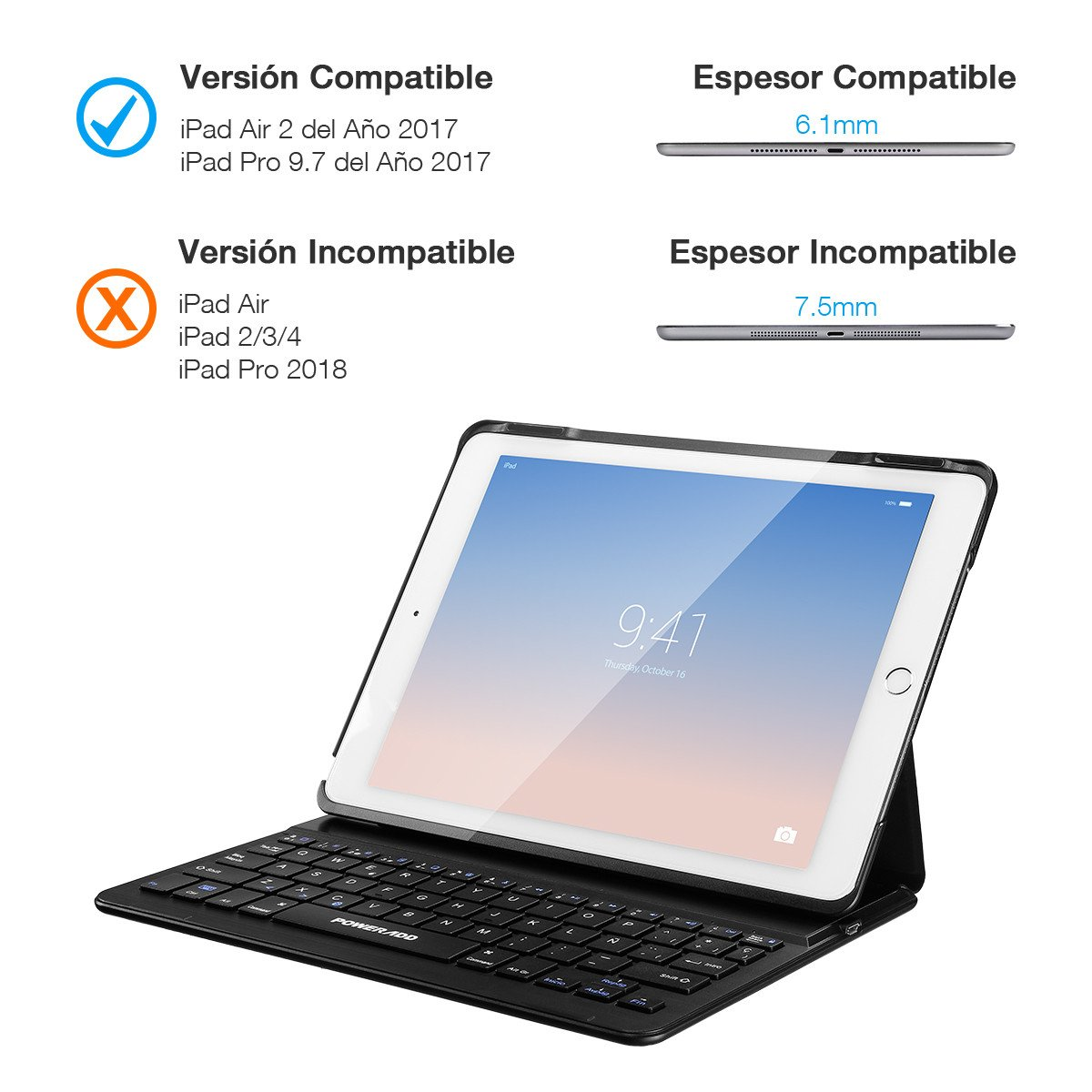 Poweradd Funda con Teclado Bluetooth para iPad Air 2 & iPad Pro 9.7, Teclado Inálambrico Españoles con USA Boardcom Modulo Bluetooth 3.0(No incluir el iPad), 280mAh Batería de Litio Recargable.