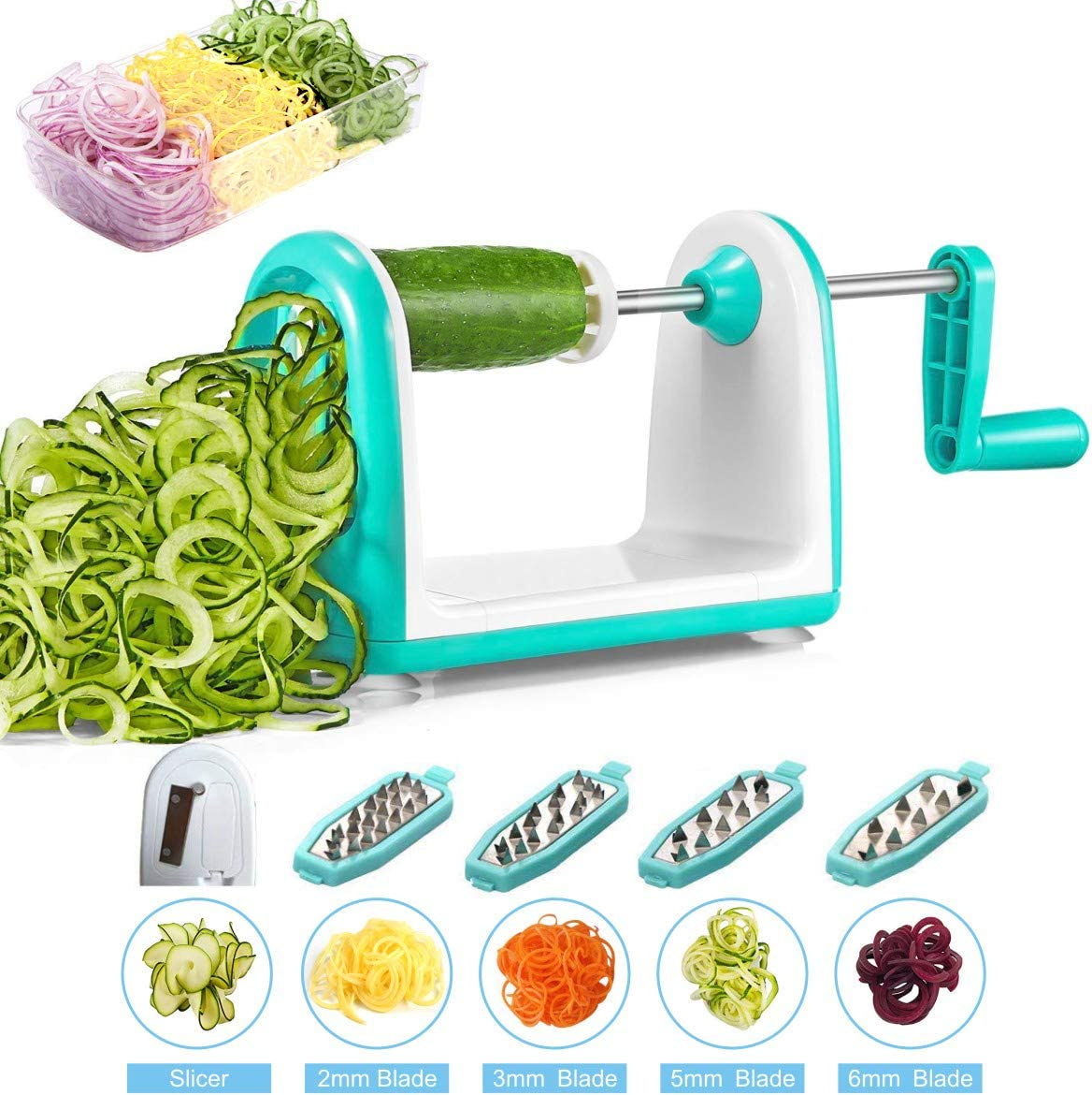 iNeibo Spiralizer Vegetable Slicer 5 Stainless Blade Spiral Slicer Veggie Spaghetti Maker with Food Container for Zucchini Noodles, Pasta, Salad