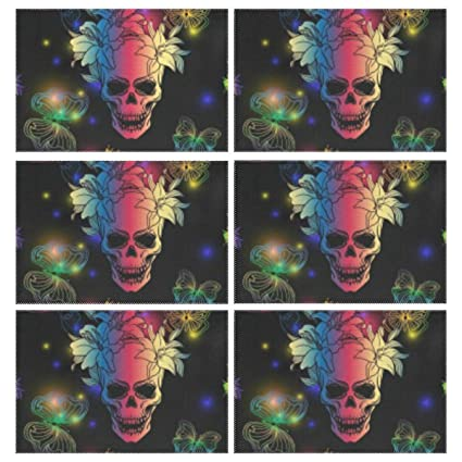 Home Set of 6 Place Colorful Skull Skeleton and Butterfly Halloween Mat Heat Resistant Rectangle Placemats