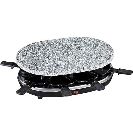 H.Koenig RP 85 Raclette 8 Personas, Plancha con Piedra Natural, 900 W, Negro, Gris RP85, Acero Inoxidable