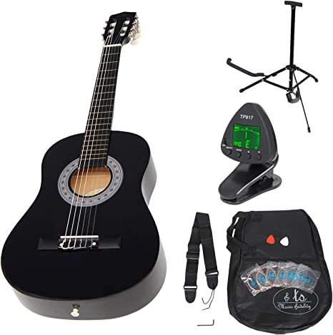 ts-ideen 53261 - Guitarra clásica para niños con accesorios, color negro: Amazon.es: Instrumentos musicales