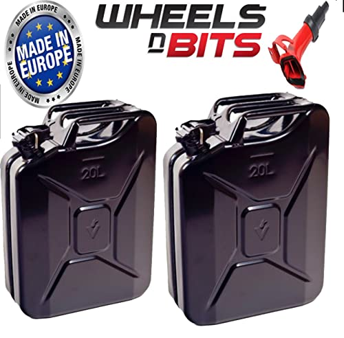 Wheels N Bits 2x 20 LITRE Plus 1 spout Black JERRY MILITARY CAN FUEL OIL WATER PETROL DIESEL STORAGE TANK