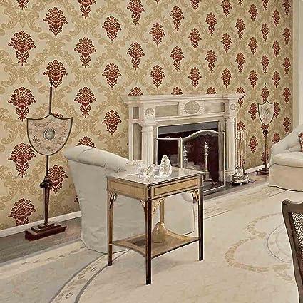 Royal Walls Damask Gold Stone Red Flower Wallpaper Amazonin