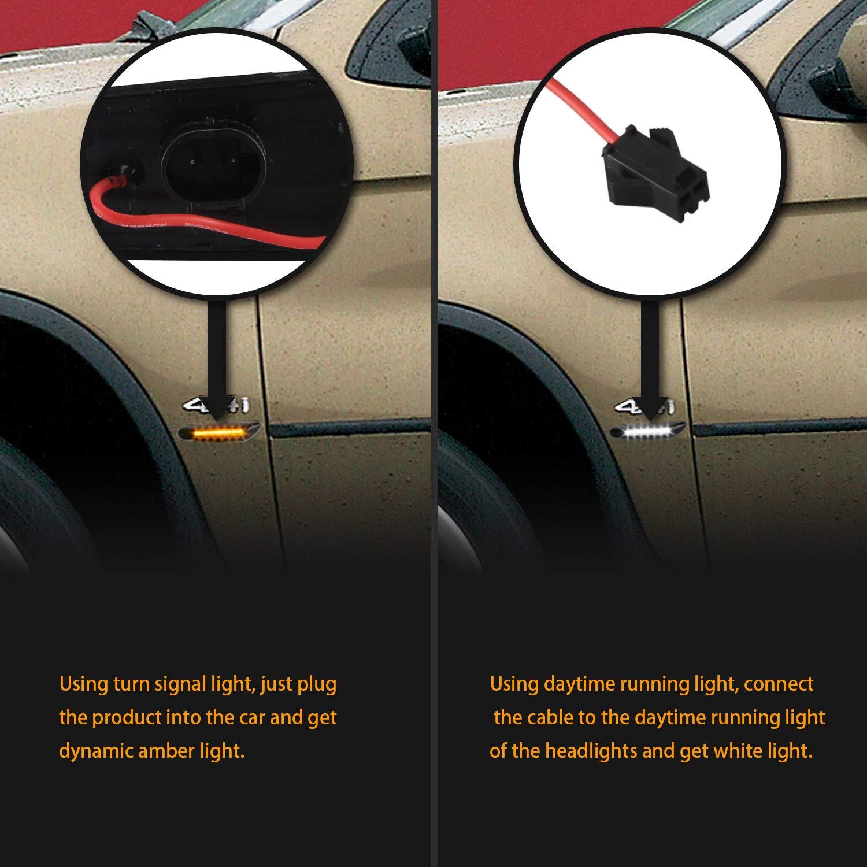 OZ-LAMPE Switchback DRL Indicadores laterales blancos y din/ámicos Luz intermitente /ámbar Luz de marcador lateral que fluye Humo para BM-W E36 E46 E60 E81 E82 E88 E90 E91 E92 E93 X1 E84 X3 E83 X5 E53