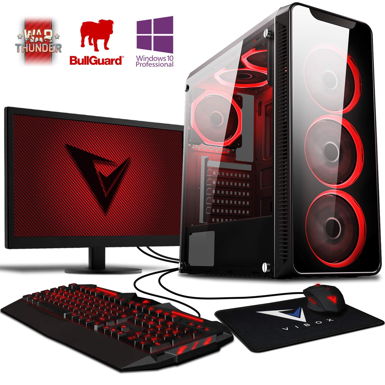 Vibox Precision 6XLW - Ordenador de sobremesa (AMD FX-4300, 32 GB de RAM, 2000 GB, Nvidia GT 730, Windows 10), Color Negro - Kit con Monitor de 22