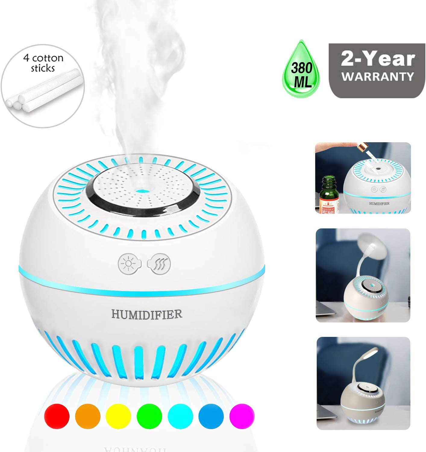 DCMEKA Cool Mist Baby Humidifier, Newest Updated Version 2-in-1 Humidifier Diffuser Ultrasonic USB Desk Humidifier for Home Bedroom Baby Nursery and Office, 4 Cotton Sticks Included 380ml 50ml h