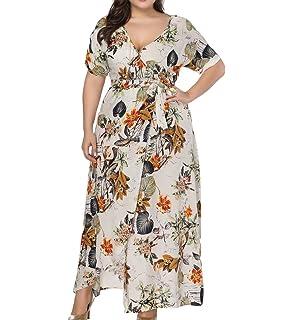 af27ac1bb42 Eternatastic Womens Floral Print Maxi Dress V-Neck Slit Wrap Long Beach  Dress Plus Size
