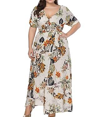7ff282356a3c Eternatastic Women's Floral Print V-Neck Wrap Long Beach Maxi Dress XL Beige