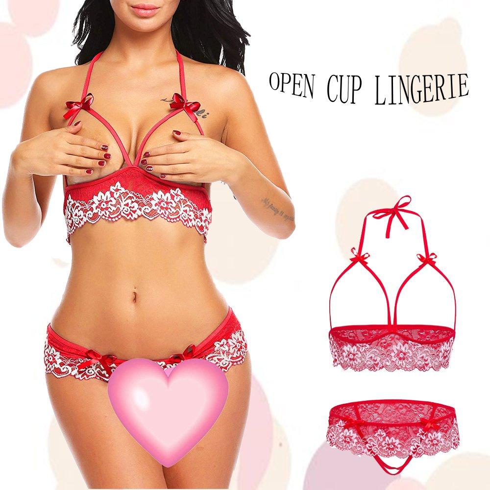 Adorelife Women\'s Open Bra Lace Babydoll Halter 2 Piece Lingerie Bra Sets