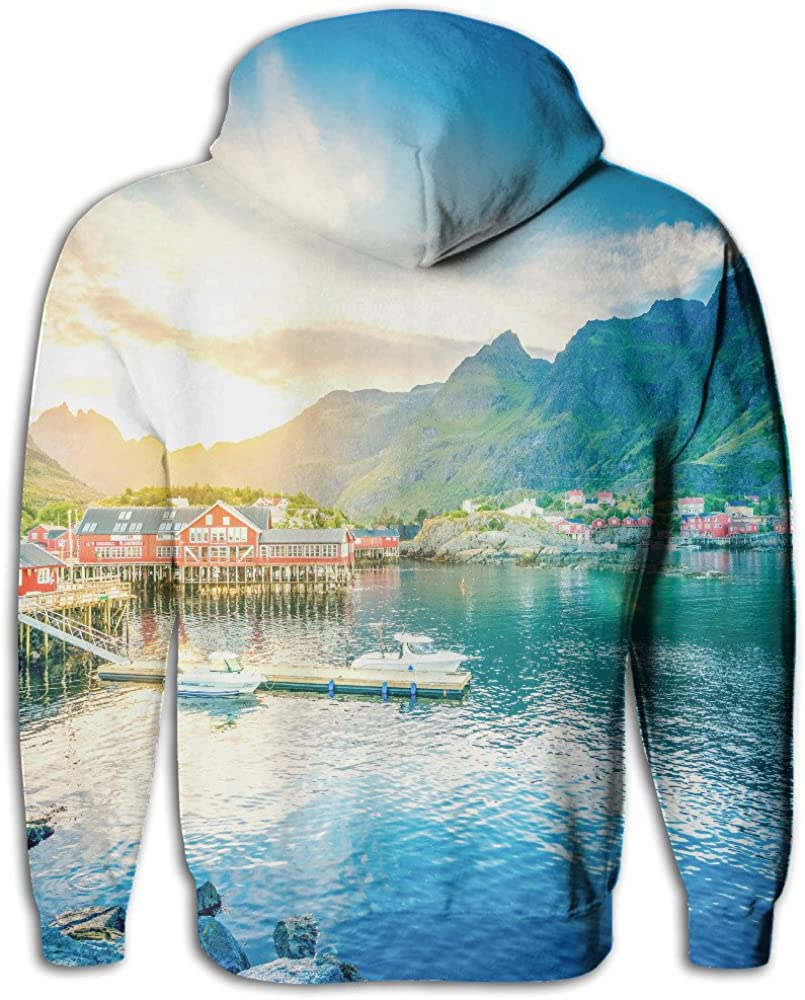 Heyshoe 3D Norway Lake Mountains House Mens Pullover Hooded Sweatshirt With Pockets Casual Hoodies