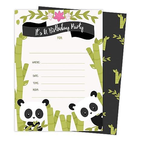 Amazon Com Panda 25 Invitations 25 Thank You Cards