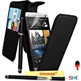 HTC One M7 Premium Leather Black Top Flip Wallet Case Cover Pouch + 2 IN 1 Ball Pen Touch Stylus Pen + RED 2 IN 1 Dust Stopper + Screen Protector & Polishing Cloth SVL6 BY SHUKAN®, (FLIP BLACK)