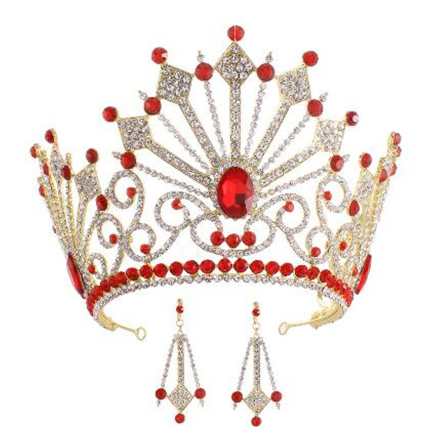 Wiipu Luxury Bridal Wedding Rhinestone Crystal Tall Crown Oversize Headbands Tiaras(A1233) (Red)