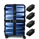 Untethered 4-Pack Luggage Straps   Belts to Keep Your Suitcase Secure While Traveling, Premium Accessory for Travel Bag Closu