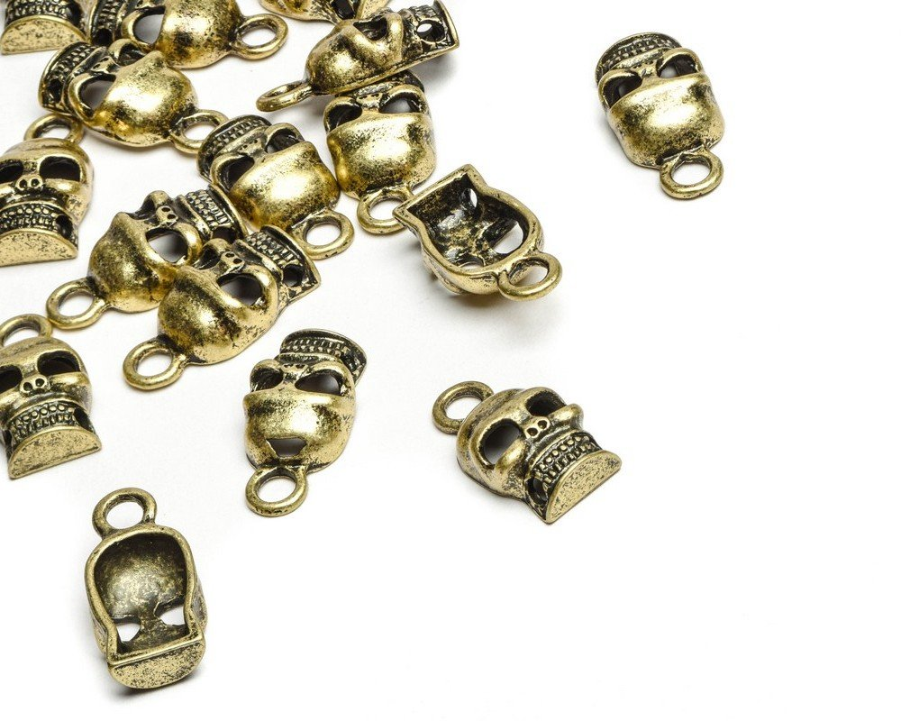 Beads Unlimited Steampunk Skull Antique Gold Metal 15x11mm-Pack of 20