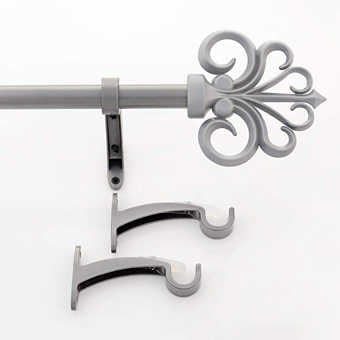 Deco Window 19//16 MM Adjustable 91 cm to 168 cm Charcoal Curtain Pole//Rod for Windows /& Door with Round Finials /& Brackets Set