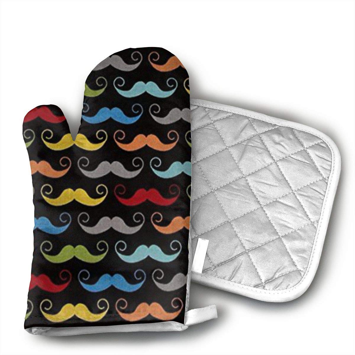 FGXQB Blake Geekly Chic Mustache Black Oven Mitts Kitchen Cooking Cotton Microwave Oven Gloves Mitts Pot Pad Heat Proof Protected Gloves