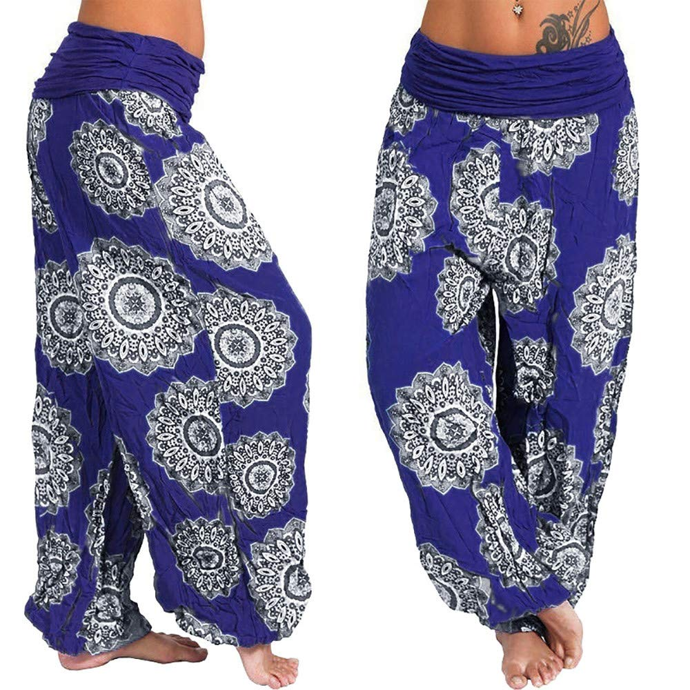 Pantalones Largos de harén Pantalones sueltos para Mujer Pantalones sueltos para Mujer Blue