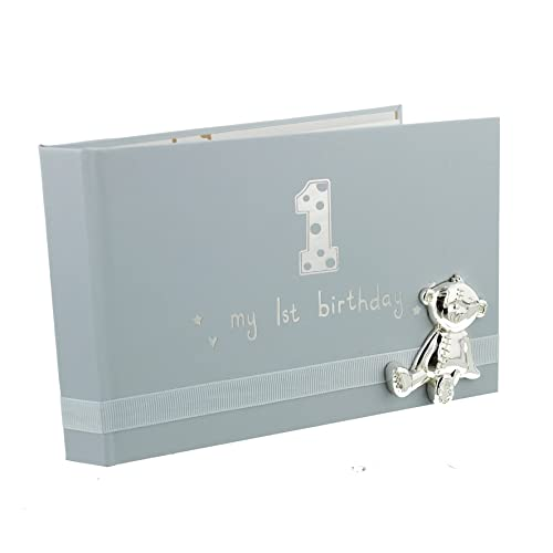 Ukgiftstoreonline Baby Boy First Birthday Photo Album With Teddy Icon 6x4 Gift New
