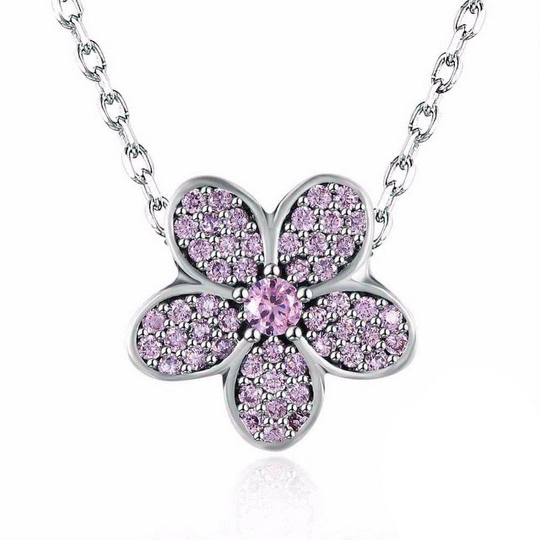 MMC Womens Necklaces Pendants Flower Design Purple CZ Stone Silver Jewelry