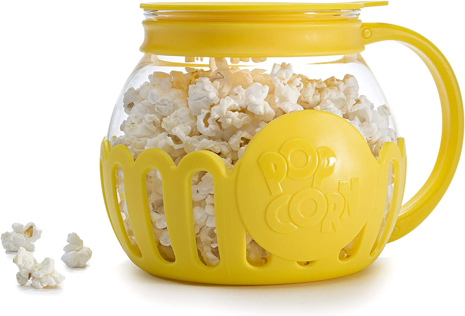 Yellow Dishwasher Safe 3-in-1 Silicone Lid BPA Free Ecolution 1.5 Quart Snack Size Original Microwave Micro-Pop Popcorn Popper Tempered Glass