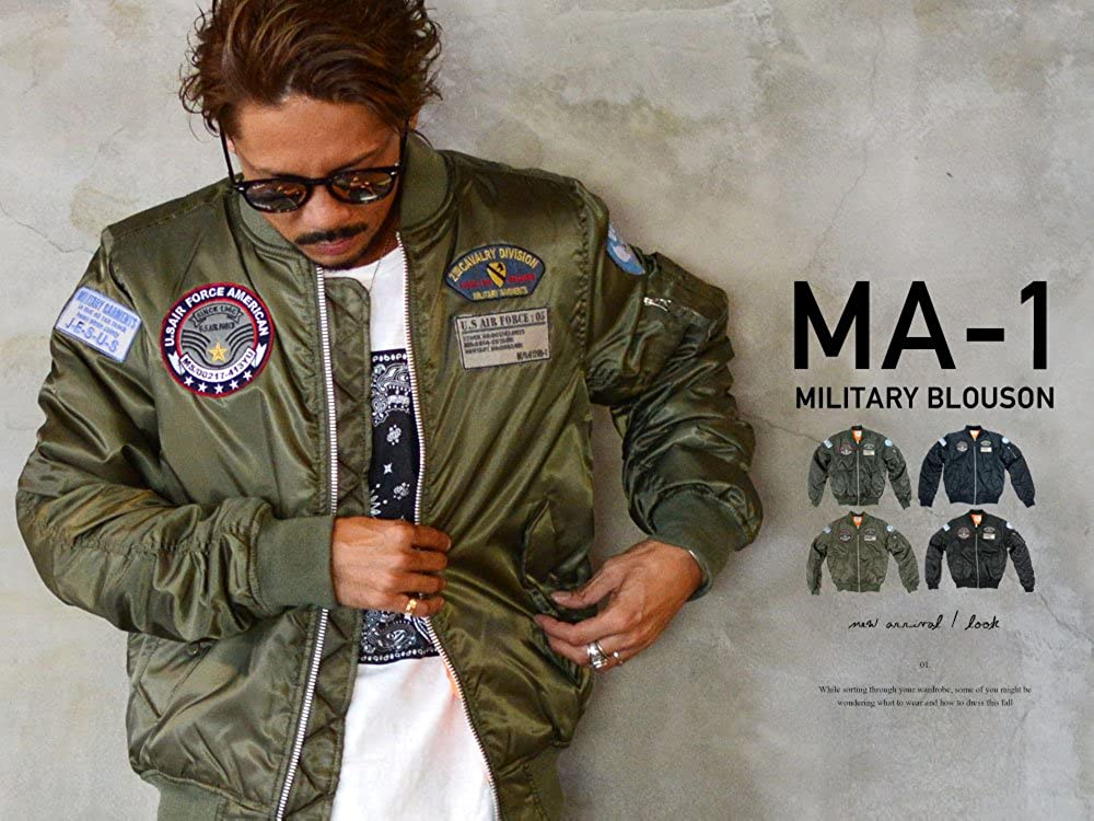 f1295f5293165 Future Bullet Men s MA-1 Bomber Jacket with Patches at Amazon Men s Clothing  store